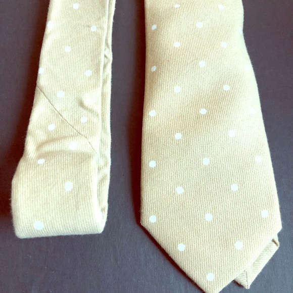 handmade Other - Beige and white polka dot cotton tie